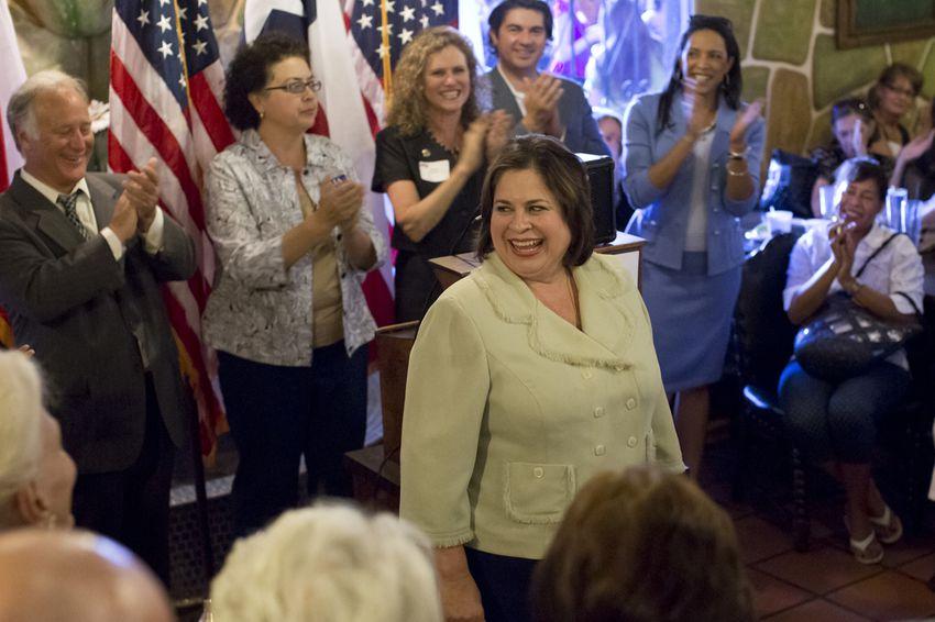 Democratic candidate for Lt. Governor of Texas, Sen. Leticia Van de Putte, D-San Antonio, speaks during a campaign swing in Austin on June 4.