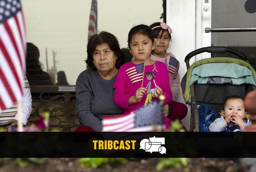 From left: Graciela Almanza, Rosie Almanza, Sarita Almanza and baby Josue Almanza await the arrival of President George H.W.…
