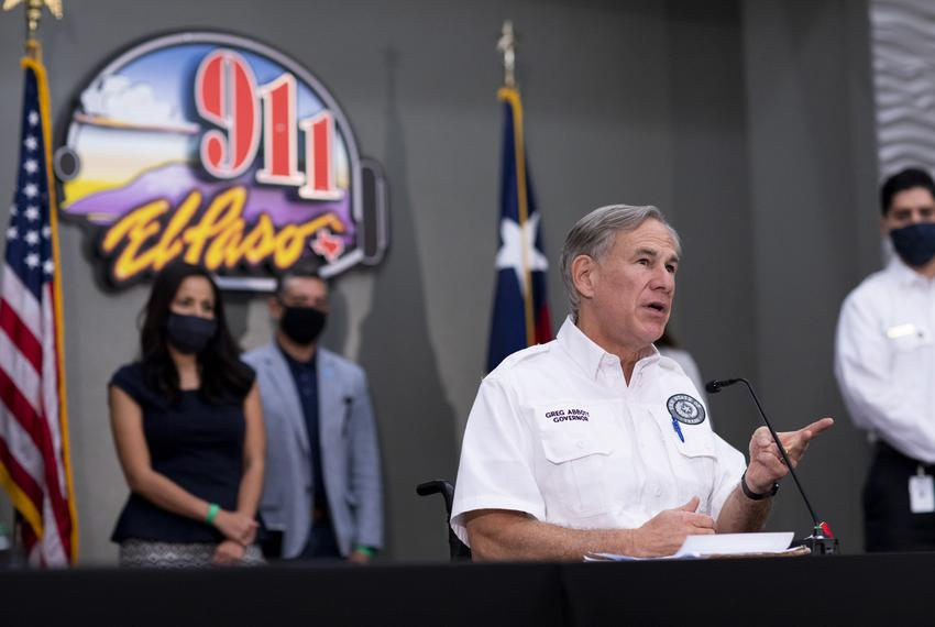 Gov. Greg Abbott meets with local El Paso leaders to discuss the coronavirus situation for the city and state on Aug. 13, ...