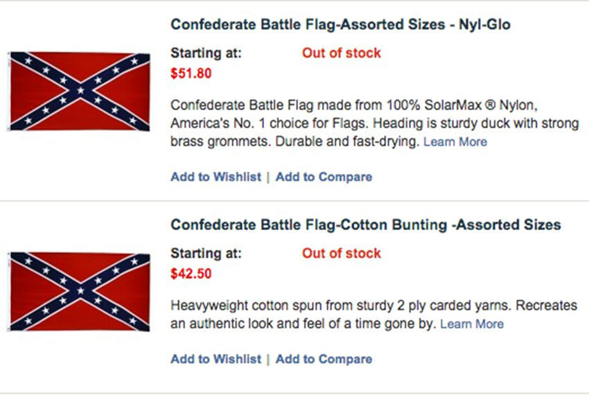 Screenshot of out-of-stock Confederate flags from Dixie Flag Manufacturing Company in San Antonio, Texas.