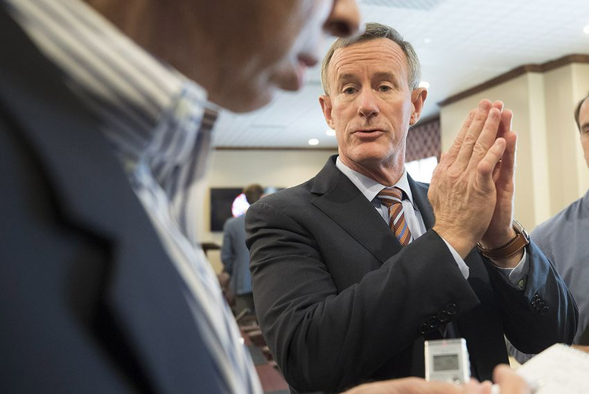 University of Texas System Chancellor William McRaven speaks to reporters on July 13, 2017 regarding closed-door discussions with the UT Board of Regents at a two-day west Austin hotel retreat.