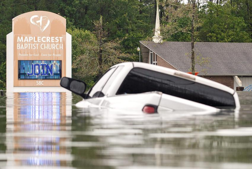 Severe flooding caused by heavy rains from Tropical Depression Imelda near Vidor on Sept. 19, 2019.
