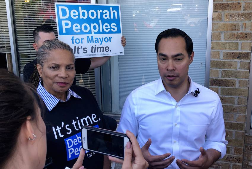 Chairman of the Tarrant County Democratic Party and mayoral candidate Deborah Peoples and presidential candidate Julián Ca...