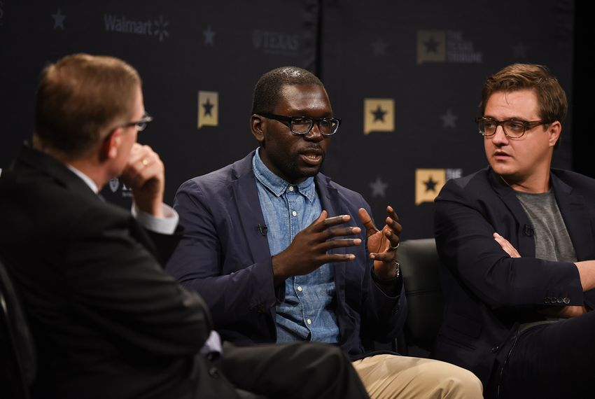 Texas Tribune CEO Evan Smith (left) hosts a community forum on race and justice, featuring Jamelle Bouie (center) andChris Hayes, at The Texas Tribune Festival on Sept. 22, 2017.