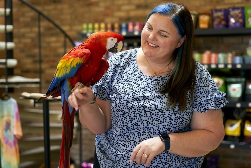 State Rep. Michelle Beckley, D-Carrollton, poses for a portrait at her store, Kookaburra Bird Shop, in Carrollton.