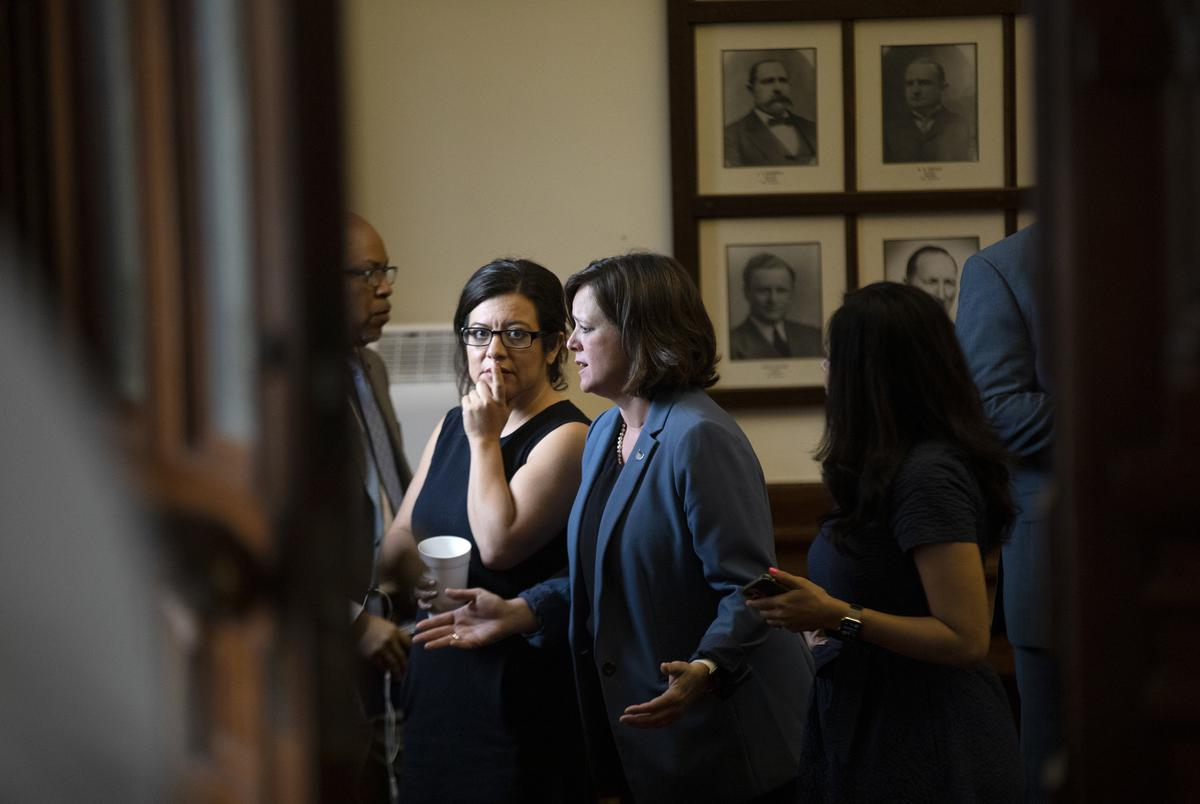 Democratic lawmakers met during a break in the session on May 30, 2021.
