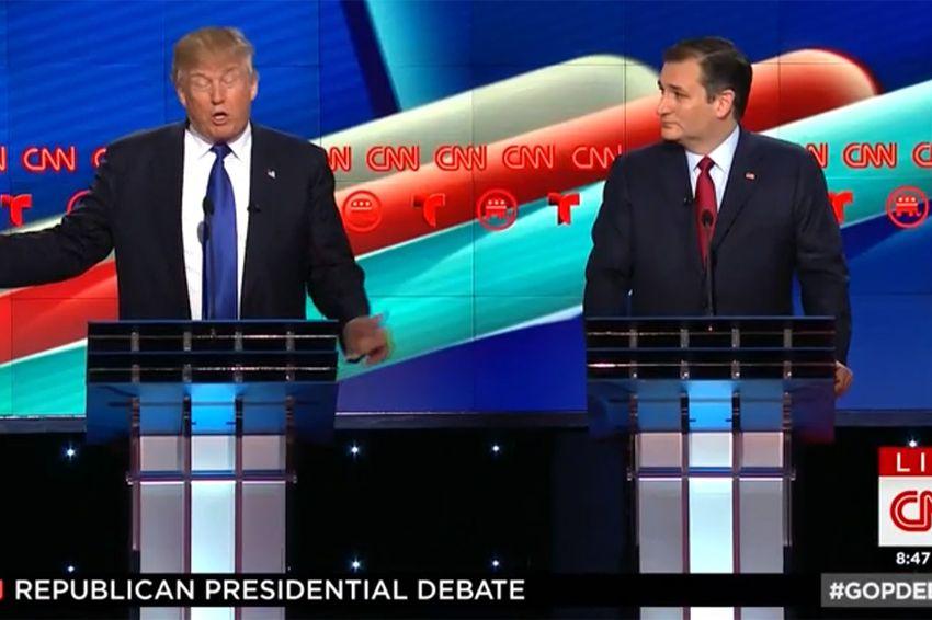 Billionaire businessman Donald Trump and U.S. Sen Ted Cruz at the GOP debate in Houston, Texas on Feb. 25, 2016.