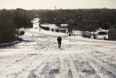 An eastbound view of East Stassney Lane in south Austin on Feb. 15, 2021.
