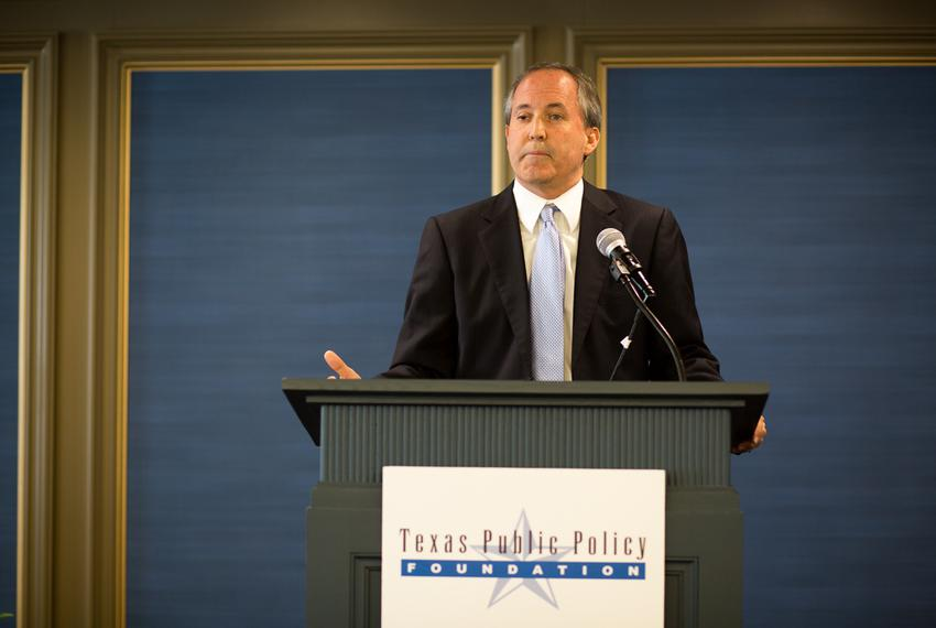 Attorney General Ken Paxton delivers an opening luncheon keynote at the Texas Public Policy Foundation At The Crossroads E...
