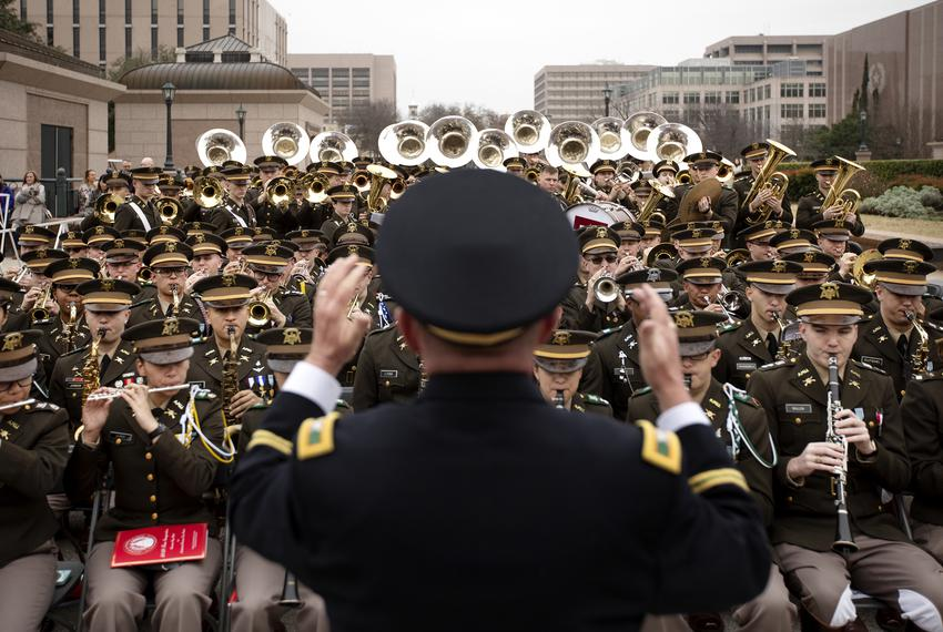 The Fighting Texas Aggie Band practices before performing at the Oath of Office Ceremony at the state capitol. Jan. 15, 2019.