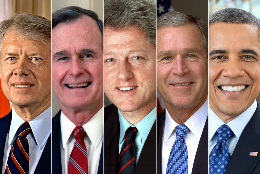 Five former presidents (left to right): Jimmy Carter, George H.W, Bush, Bill Clinton, George W. bush and Barack Obama.