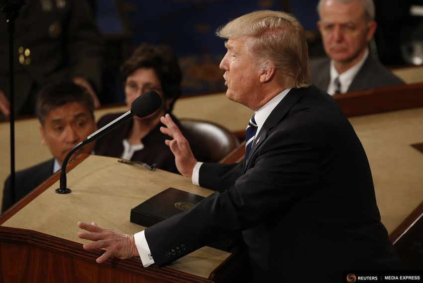 President Donald Trump addresses a joint session of Congress in Washington, D.C., on Feb. 28, 2017.