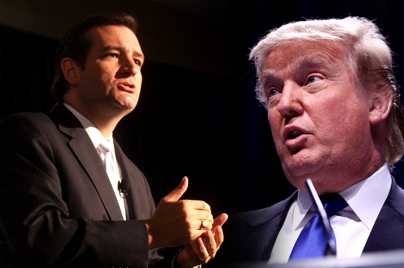 U.S. Sen. Ted Cruz (left) and Donald Trump.