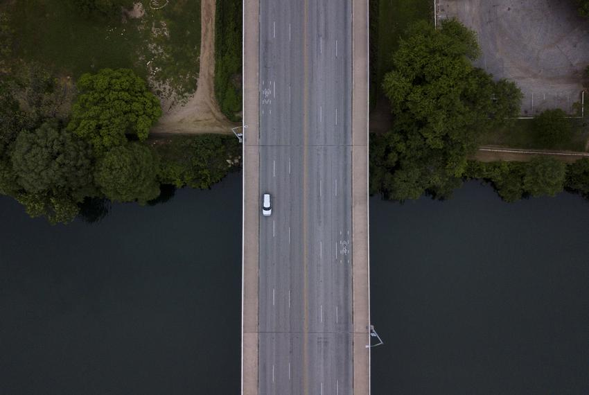 Sparse traffic on the Congress Avenue bridge in Austin during the coronavirus pandemic. April 2, 2020.