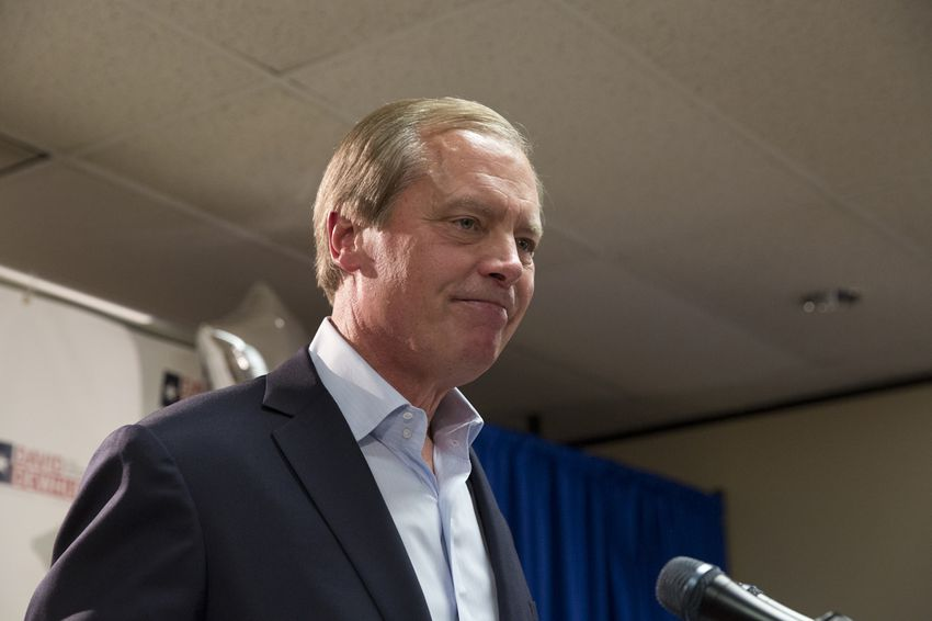 Lt. Gov. David Dewhurst delivering his concession speech after losing his re-election bid on May 27, 2014.