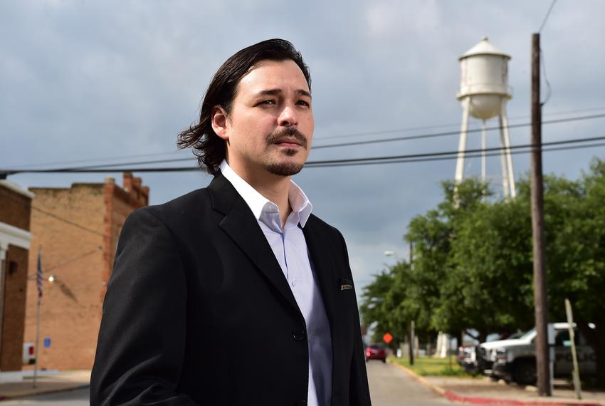 Frio County Commissioner Jose Asuncion in downtown Dilley, Texas.