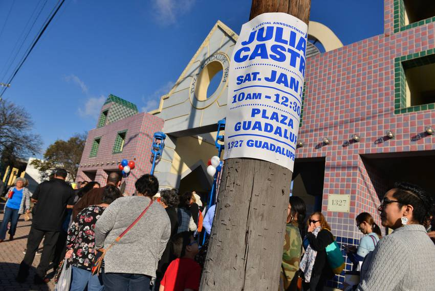 A large crowd waits in line at the Guadalupe Plaza in the San Antonio to hear Julián Castro, former Mayor of San Antonio a...