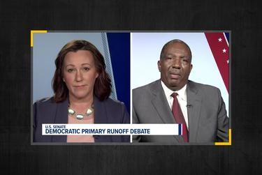 Democratic U.S. Senate candidates MJ Hegar and State Sen. Royce West face off at KVUE's Democratic U.S. Senate Primary debate on June 29, 2020.