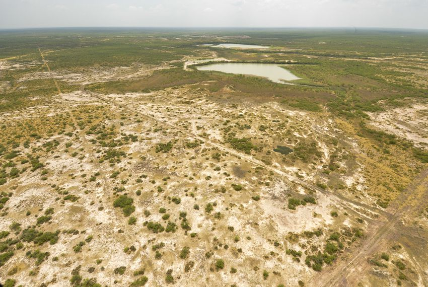 "An aerial view of the site of a proposed landfill by Laredo developer Carlos ""C. Y."" Benavides. The site is about 20 miles east of Laredo."