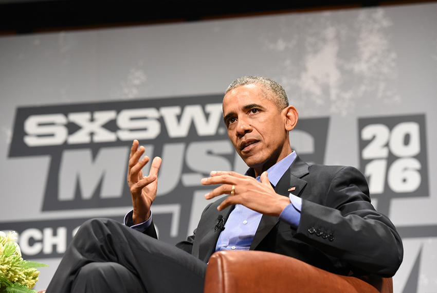 President Barack Obama spoke about civic engagement in a digital age at Austin's South by Southwest on March 11, 2016.