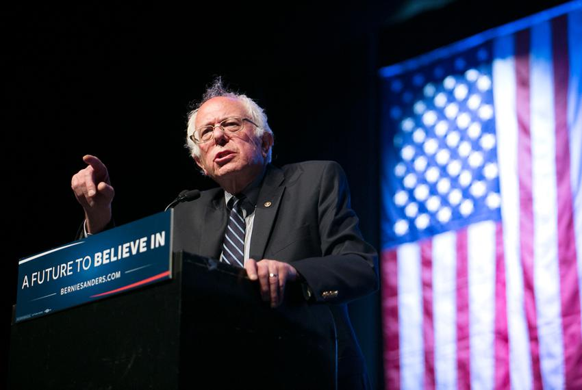 Bernie Sanders speaks at a rally in Dallas at the Verizon Theatre on Feb. 27, 2016.