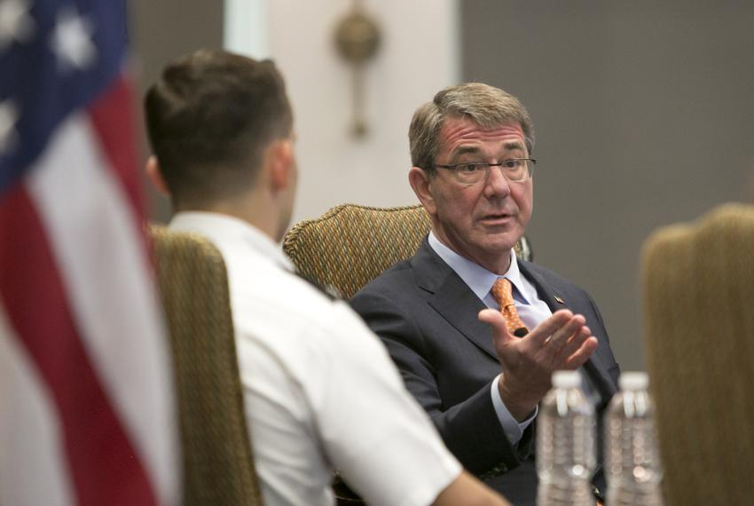 U.S Secretary of Defense is Ashton Carter, visits the University of Texas at Austin where he held a discussion with students…