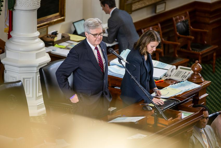 Lt. Gov. Dan Patrick presides over session on the Senate floor at the state Capitol on May 25, 2021.