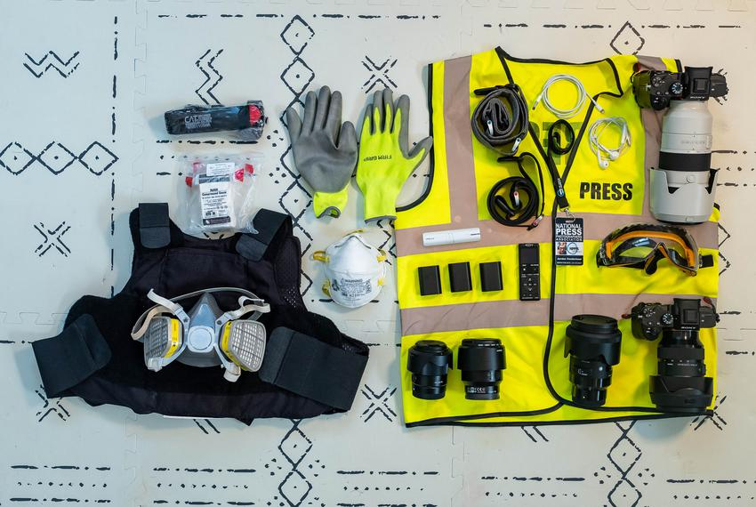 Personal protective equipment that Jordan Vonderhaar has used while covering protests and the COVID-19 pandemic. -