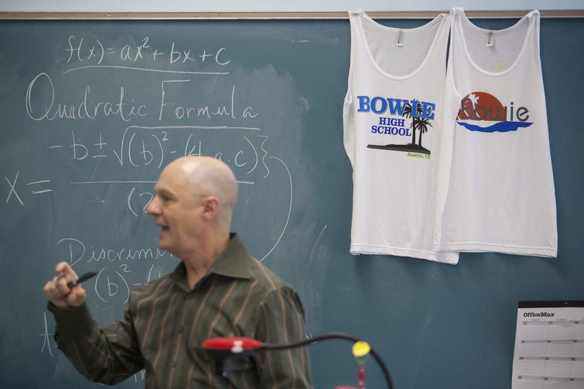 Hank Warner teaches a pre-advanced placement algebra course for ninth graders at Bowie High School in Austin.
