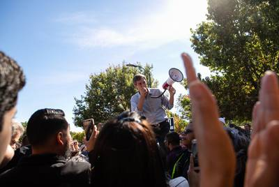 Beto O'Rourke speaks to supporters in Plano at Willow Creek Park the last day of early voting Nov. 2, 2018.
