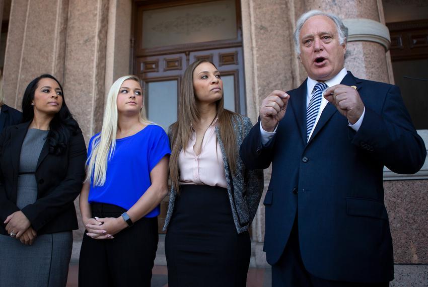 State Sen. Kirk Watson, D-Austin, speaks at a presser following the testimony of Tasha Schwikert, Alyssa Baumann and Jordan …