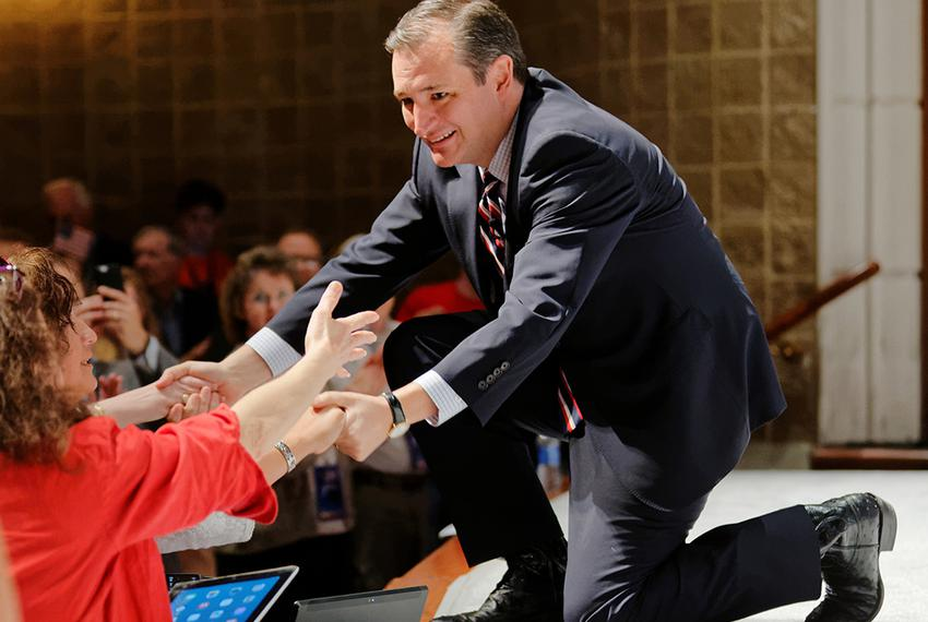 U.S. Senator Ted Cruz, R-Texas, shakes hands at The Citizens United Freedom Summit in South Carolina, May 9, 2015.