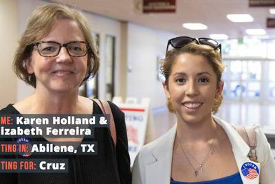 "Karen Holland, 60, and daughter Elizabeth Ferreira, 31, both voted for Ted Cruz.  ""I have a problem with open borders,"" Holland said. ""I want somebody who believes in the laws that we have and wants them enforced."""