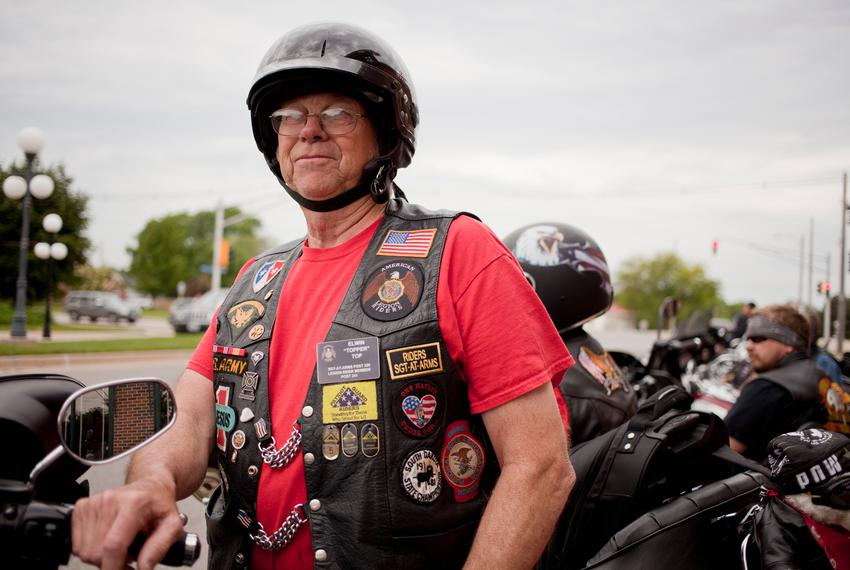 Edwin Top of Orange City, Iowa, prepares to ride from Perry to Boone, Iowa, on June 6, 2015, as part of the Ride with Rick e…