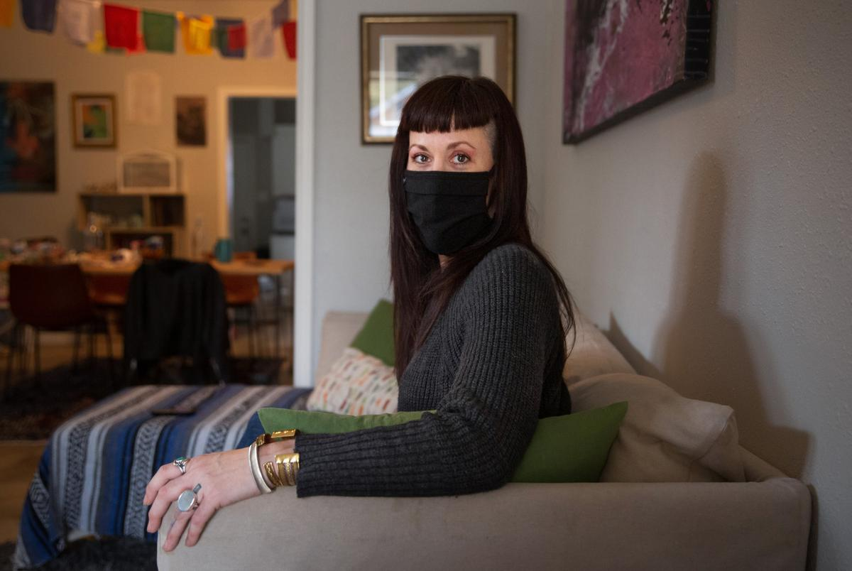 Cate Puckett in her Houston home on Dec. 14, 2020. She is one of many Texans legally fighting against eviction as the CDC moratorium expires at the end of the month.