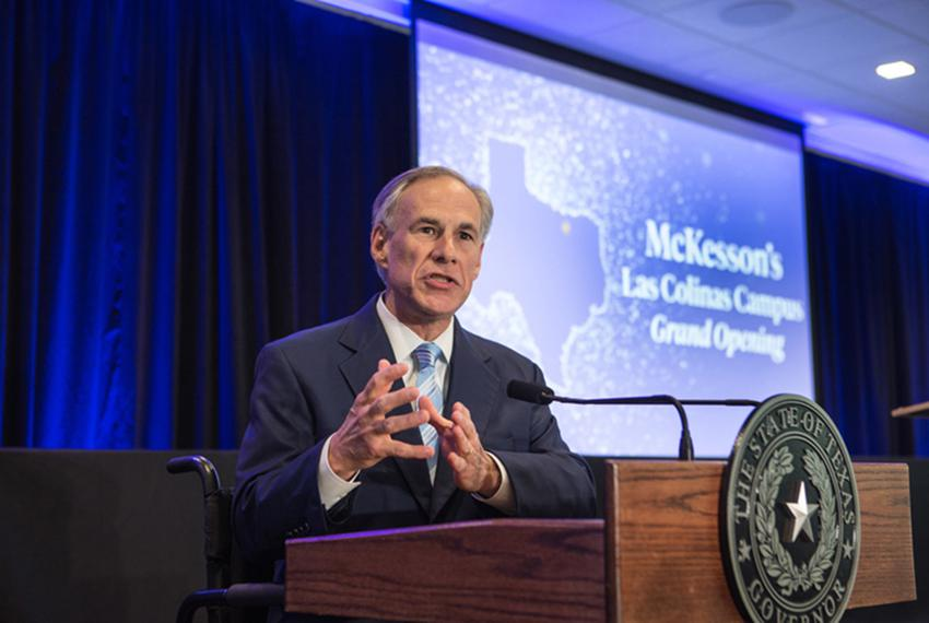 Texas Gov. Greg Abbott speaks at the grand opening of McKesson Corporation's campus in Irving on April 6, 2017. Abbott's o...