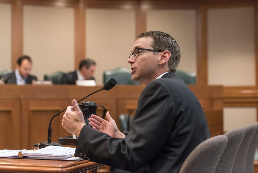 Texas Education Commissioner Mike Morath discusses the scope of financial losses to Texas public schools affected by Hurricane Harvey at a House Public Education Committee hearing at the state Capitol on October 12, 2017.