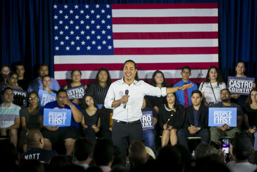 Presidential candidate Julián Castro speaks to the crowd during a rally in Houston.