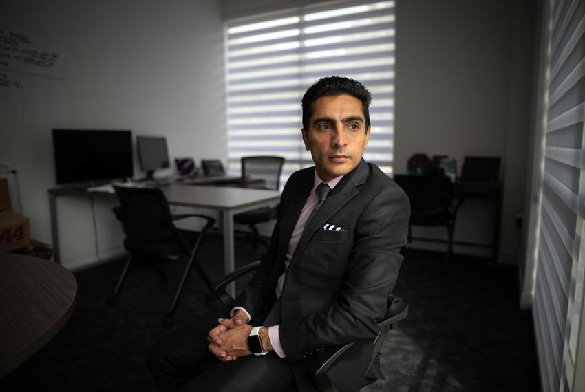 Salman Bhojani, a former candidate for Texas Senate District 9, at his offices in Irving, on Oct. 17, 2021. Bhojani suspende…