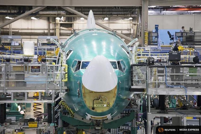 A Boeing 737 jetliner under assembly in Renton, Washington on Feb. 4, 2014.