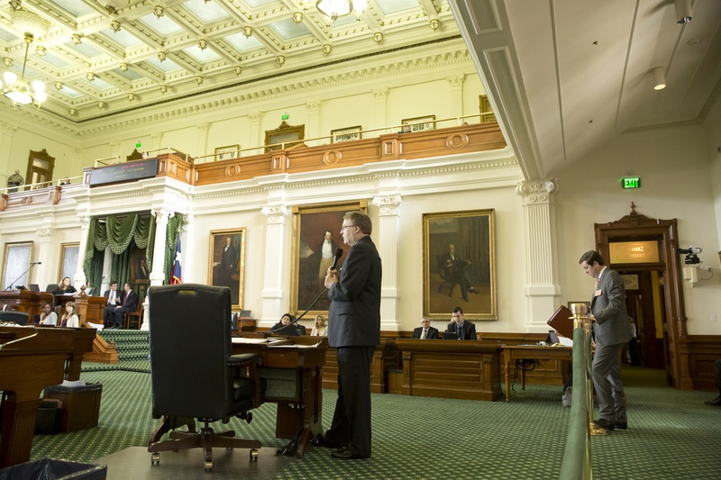 State Sen. Brian Birdwell, R-Granbury, during a debate over his campus carry bill, SB 11, on March 18, 2015.