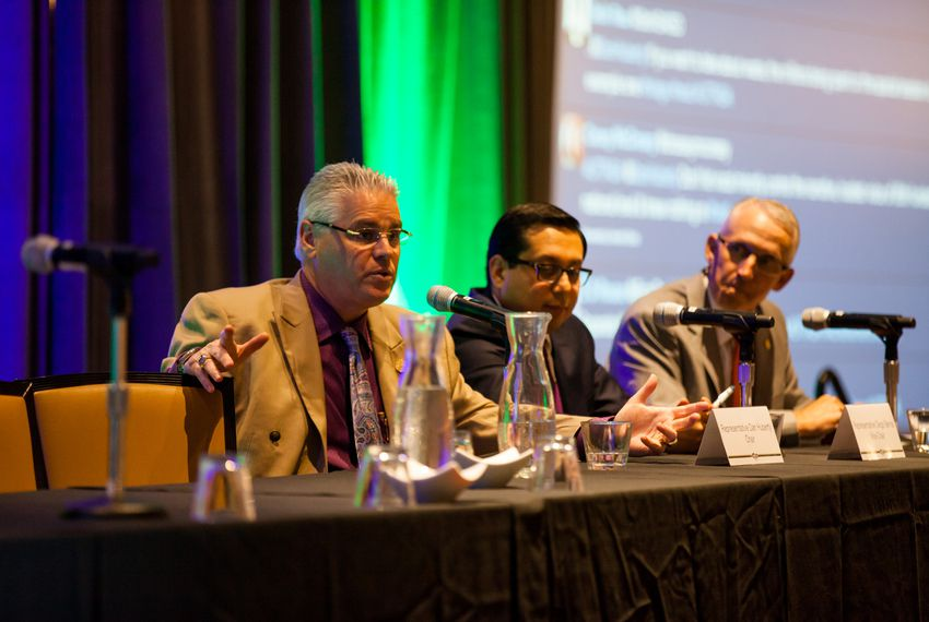 Reps. Dan Huberty, Diego Bernal andGary VanDeaver discuss the past legislative session and the upcoming special session at a conference of the Texas Association of School Administrators in Austin on June 25, 2017.