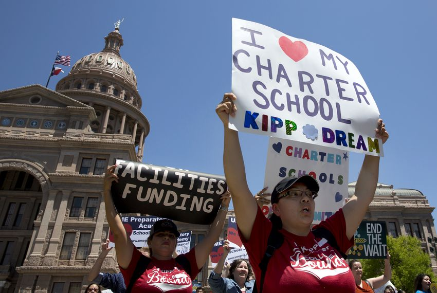Charter school supporters attend a rally for the Texas Charter School Association at the Capitol on April 26, 2017.