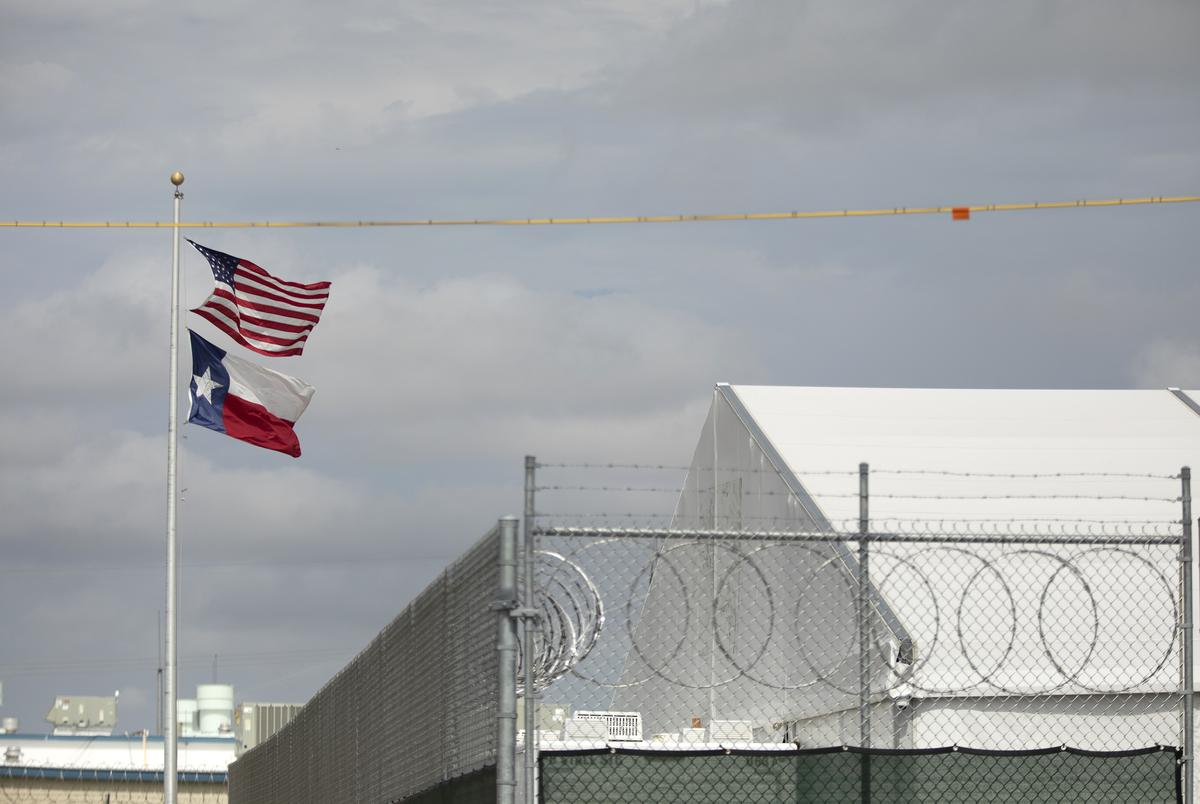A temporary migrant processing facility next to the Val Verde Sheriff's Office in Del Rio on July 23, 2021.