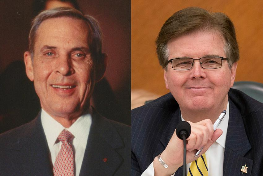 Former Democratic Lt. Gov. Bob Bullock and Republican state Sen. Dan Patrick.