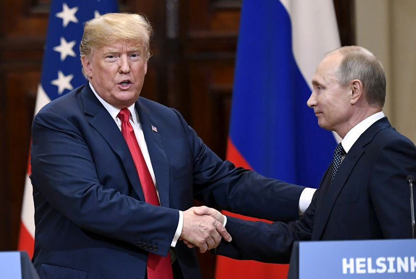 U.S. President Donald Trump and Russia's President Vladimir Putin shake hands after their joint news conference in the Presidential Palace in Helsinki, Finland on July 16, 2018.