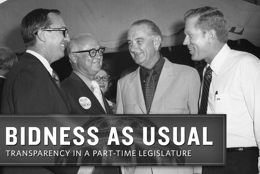 A portrait of power in Texas in 1970: House Speaker Gus Mutscher, Governor Preston Smith, former president Lyndon Johnson,...