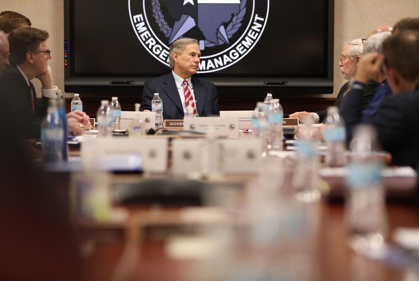 Gov. Greg Abbott is briefed on the coronavirus outbreak, in Austin on Thursday, Feb. 27, 2020.