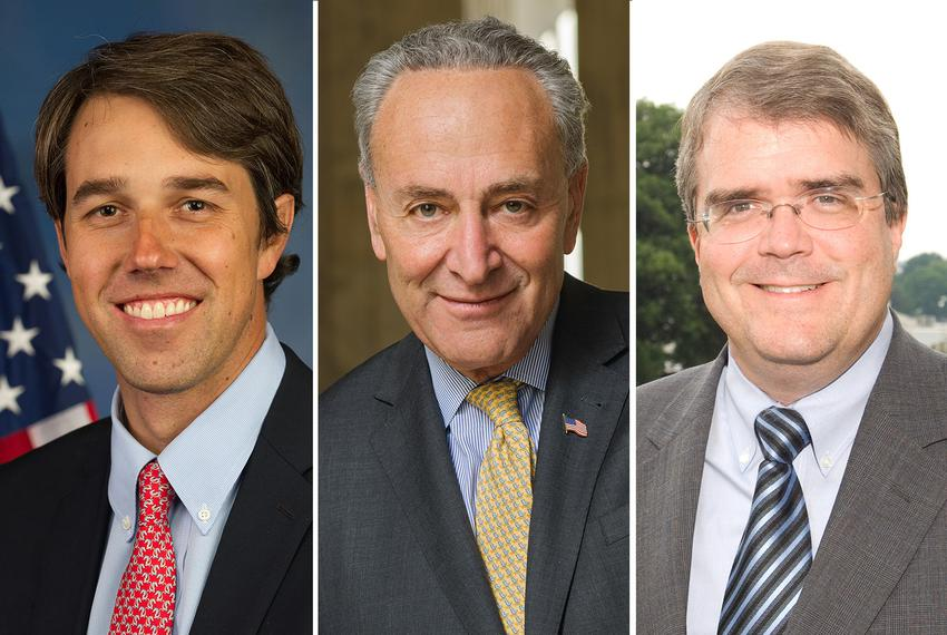 Left to right: U.S. Rep. Beto O'Rourke, D-El Paso, U.S. Sen. Charles Schumer, D-New York, and U.S. Rep. John Culberson, R-Ho…