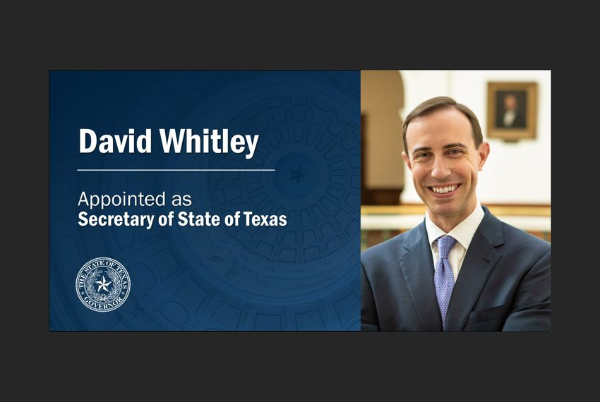 David Whitley was named the next secretary of state by Gov. Greg Abbott.